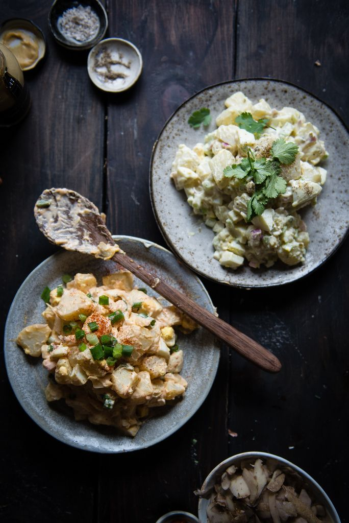 This is an easy-peasy recipe for potato salad (one of B2's favorite things) that incorporates kimchi (one of his other favorite things!)