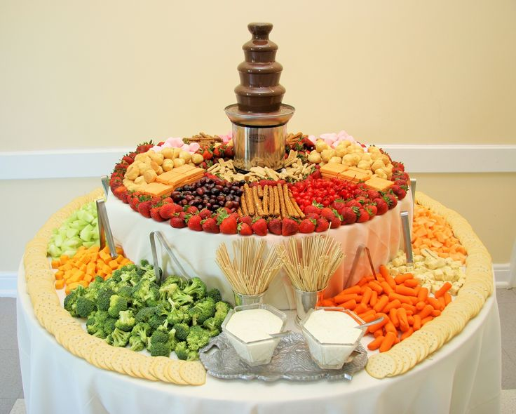 Mini Chocolate Fountain with Items for Dipping along with Veggies, Cheeses, Crackers and Dips