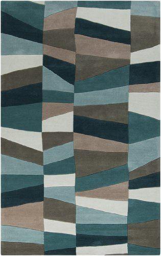 2u0027 x 3u0027 miedoso teal blue and mossy stone hand tufted area throw rug