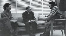 Jean Paul Sartre (middle) and Simone de Beauvoir (left) meeting with Che Guevara (right) in Cuba, 1960