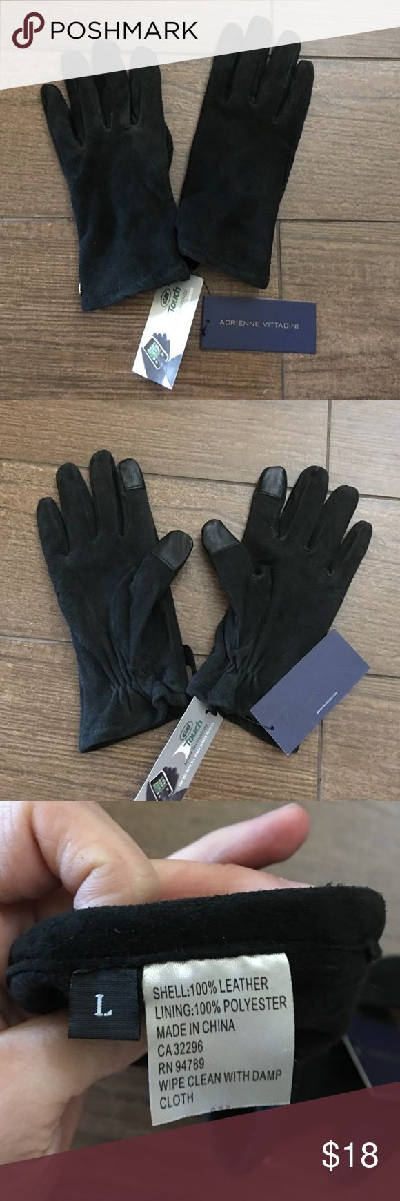 SALE🎉Adrienne Vittadini 100% leather suede tech NWT Adrienne Vittadini 100% leather suede tech gloves. Has the tech use on index fingers and thumbs. Size large color black Adrienne Vittadini Accessories Gloves & Mittens