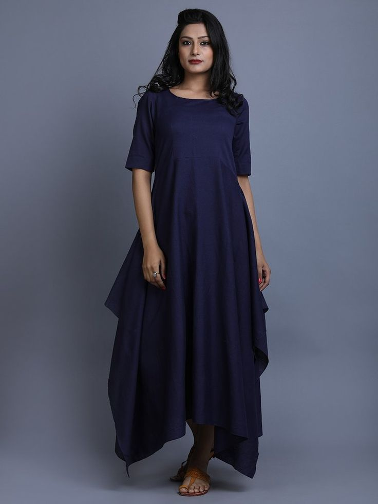 Navy Cotton Linen Asymmetric Dress