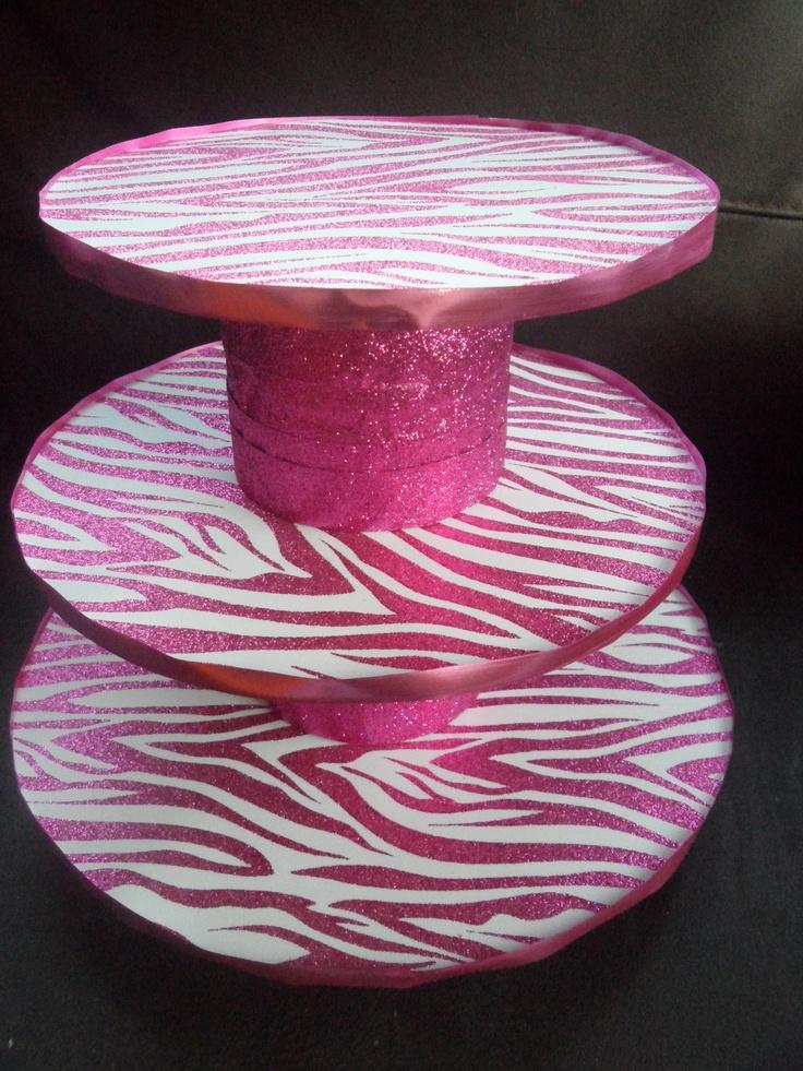DIY Cupcake Stand- Zebra Print Glitter- made by Patricia Sosa