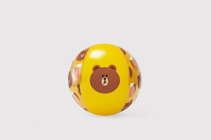 LINE FRIENDS Clear Color BROWN Cute Bear Recreation Sports Inflatable Beach Ball #LINEPLUS