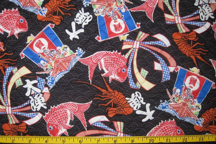 Lucky Japanese Symbols Pre Quilted Fabric Half Meter Cut Black by JapanesqueAccents on Etsy