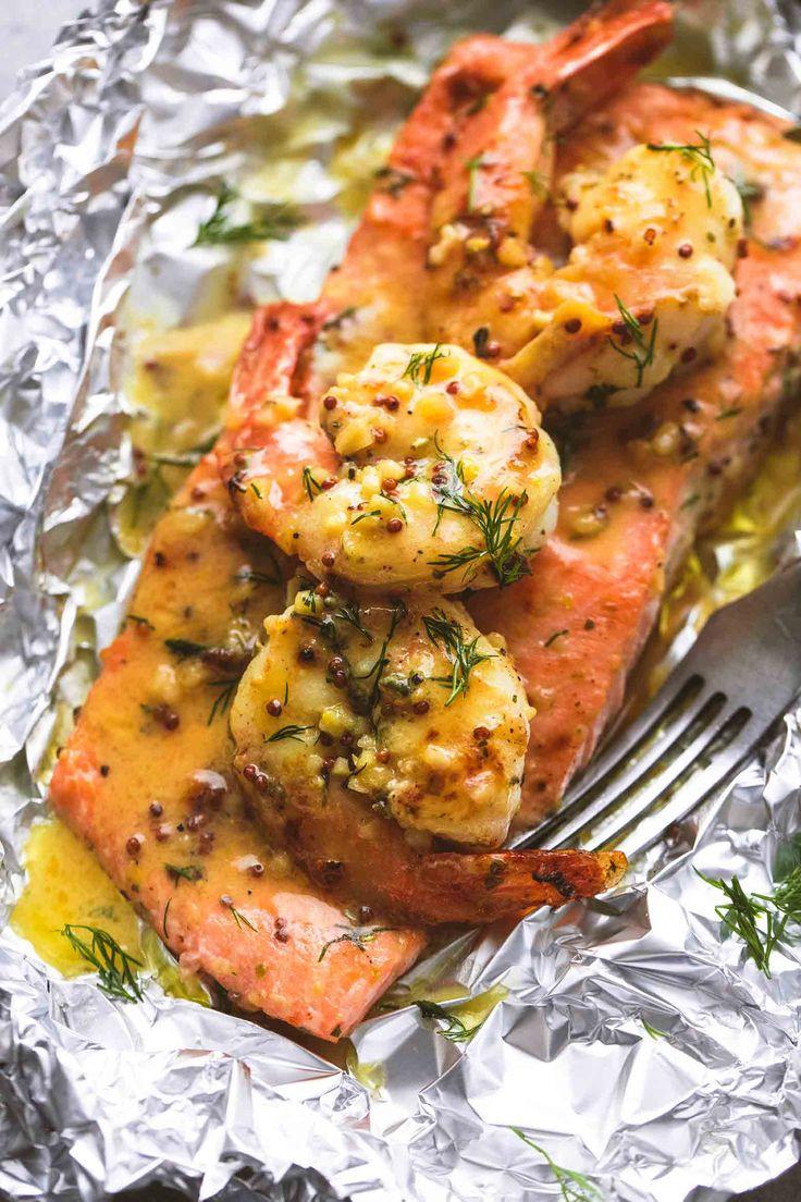 Garlic Dijon Shrimp & Salmon Foil Packs | lecremedelacrumb.com