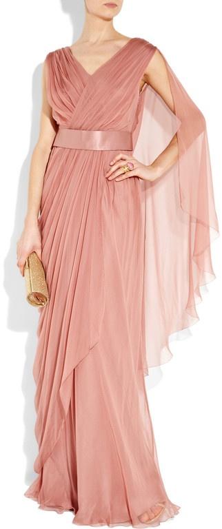 Alberta Ferretti Draped Silkchiffon Gown in Pink (rose)