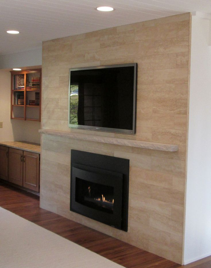 Sant Agostino 6 X 24 Plank Travertine Tile In Beige On Fireplace Surround Installed Linear