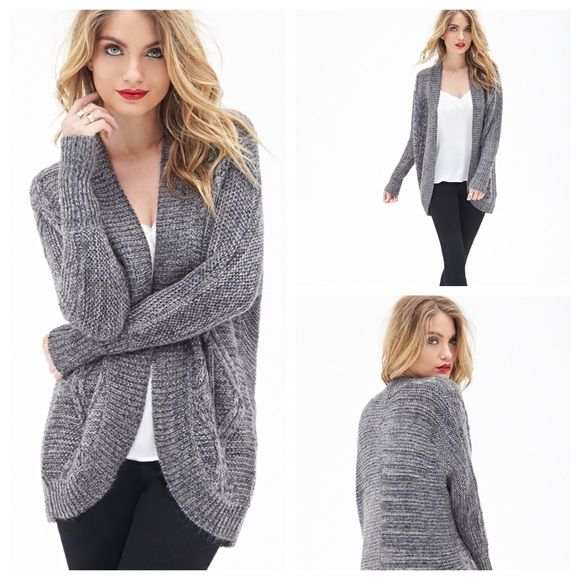 Forever 21 Cable Knit Batwing Cardigan This cardigan is comfy, unfussy, and chic, with details like a cable knit pattern, batwing sleeves, and a longline silhouette that make it incredibly easy to wear. This particular style is on the slouchier side, and does run a bit big. Material is 31% acrylic, 29% rayon, 18% nylon, 13% polyester, 9% mohair. Purchased online from Forever21.com. Please, no trades. Feel free to ask for measurements, or ask any other questions! Forever 21 Sweaters Cardigans