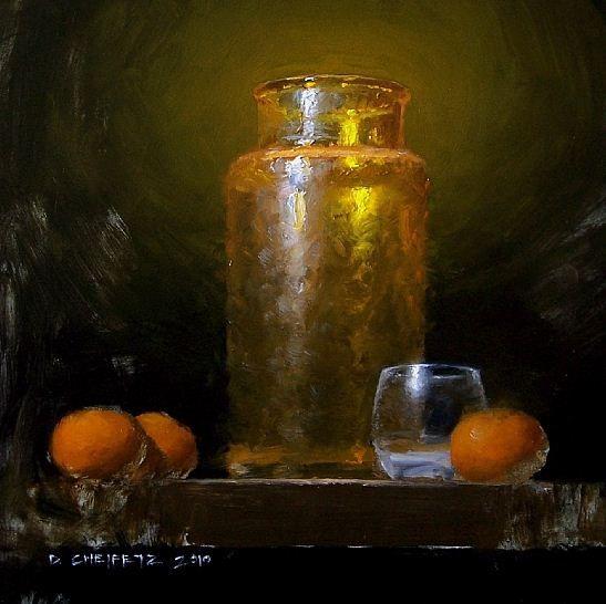 Cheifetz David. Натюрморты живопись. Orange Glass. 8х8 дюймов