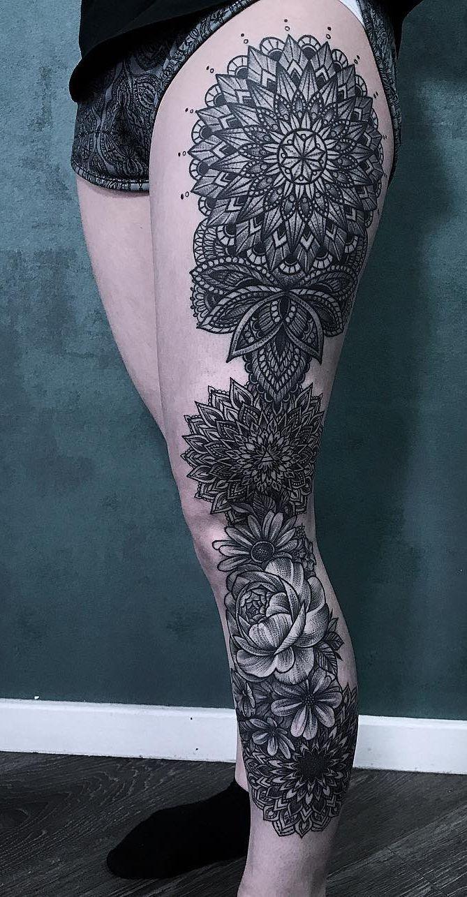 Leg Sleeve With Mandalas C Tattoo Artist Laura Weller Thightattoos Mandala Tattoo Design Mandala Tattoo Leg Leg Tattoos