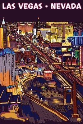 Las Vegas Strip at Night - Lantern Press Poster