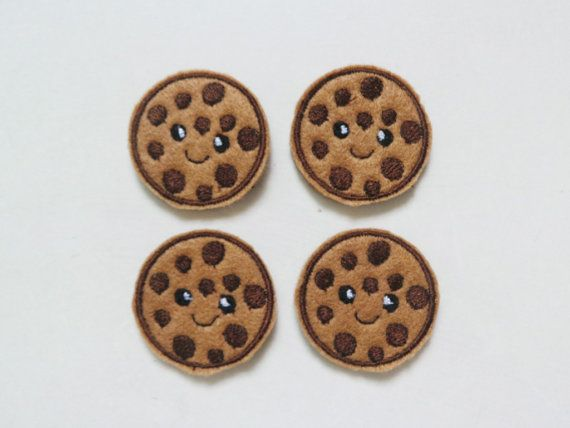 Machine Embroidered Cookies Felt Appliques Food by craftfactory