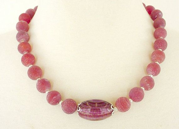 Red Statement Necklace Marsala Red Gemstone by laiseoriginals
