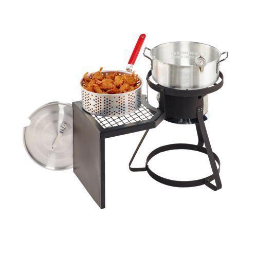 Outdoor Fish Fryer Gas Grill Propane Burner Deep Frying Basket Cajun Cooker Pot #OutdoorGourmetPro