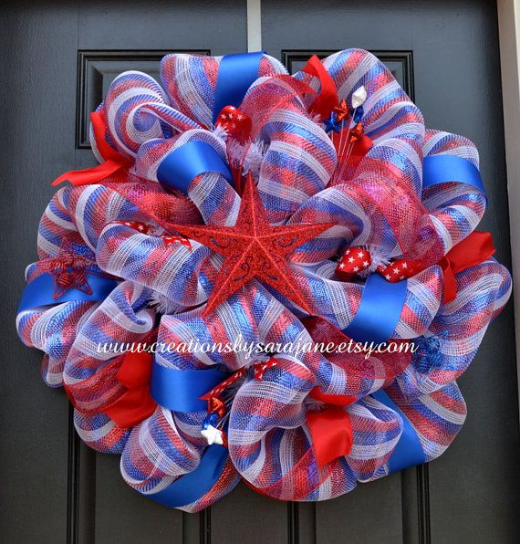 4th of july ribbon wreath