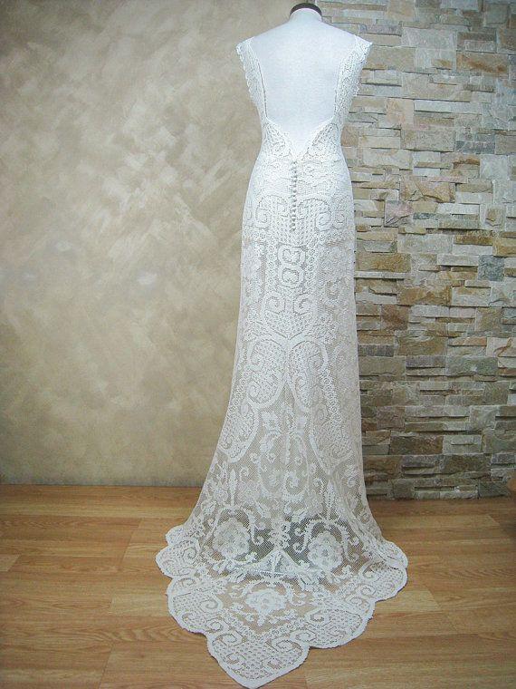 Vestido de novia ivory exclusivo de encaje vestido por LecrochetArt