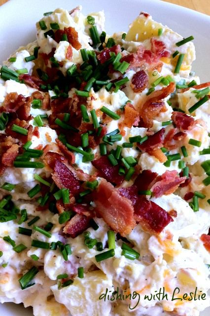 Loaded Baked potato salad Ingredients: 4 large Russet or Yukon Gold potatoes 1/4 cup mayonnaise 1/2 cup sour cream 1/2 cup shredded cheddar cheese 1/4 cup freshly chopped chives, divided 8 strips of bacon (6 for the salad and 2 for topping) cooked and crumbled 1 tsp black pepper salt to taste  Click for directions