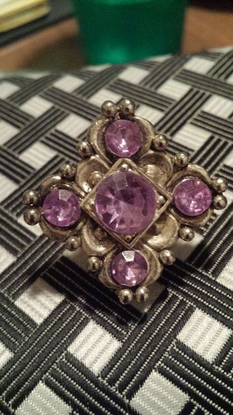 Vintage Silver Tone Glass Stoned Brooch