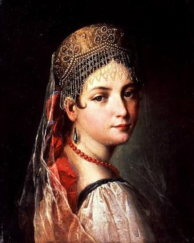 Russian costume in painting. Mauro Gandolfi. Portrait of a Young Girl in Sarafan and Kokoshnik. 1820s. #art #painting #Russian #costume