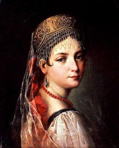 Russian costume in painting. Mauro Gandolfi. Portrait of a Young Girl in Sarafan and Kokoshnik. 1820s. #art #painting #Russian #costume