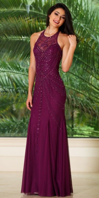 4a81dfcc349 Long High Neck Plum Embellished Prom Dress - Sean - 51048 -  338.00 ...