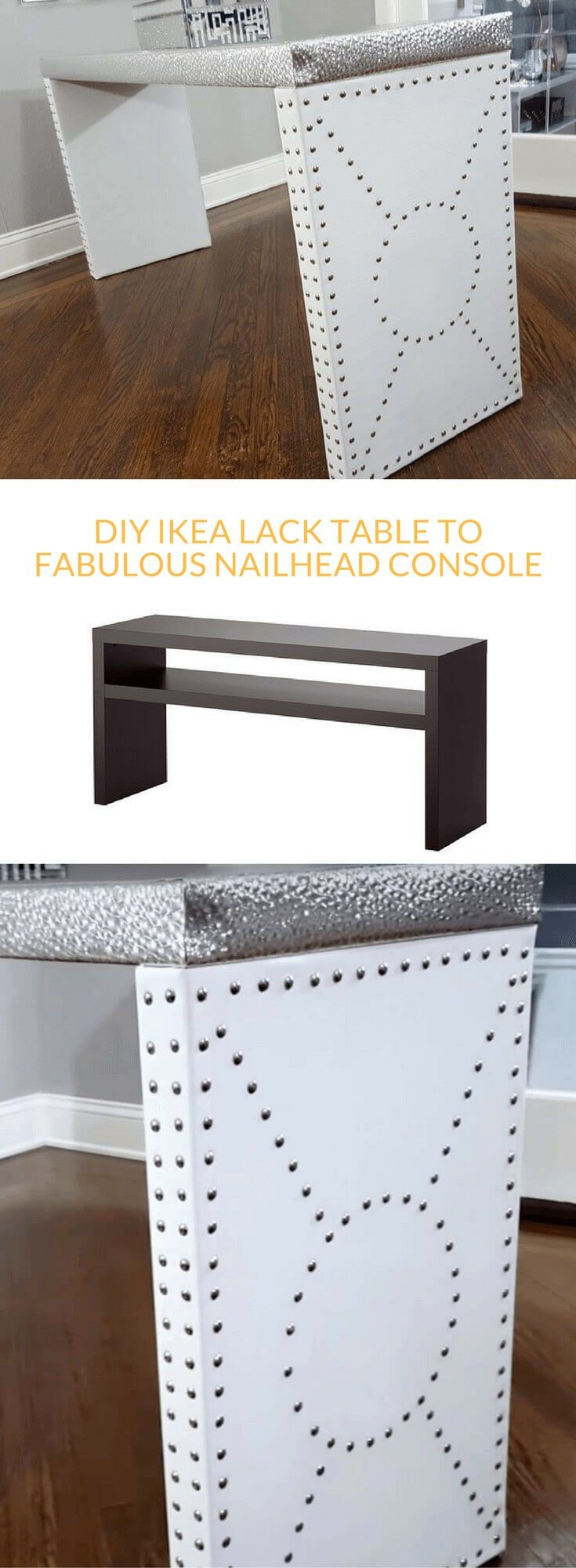 Nailhead Console Table: An Entryway Table Luxe Upgrade  Http://www.ikeahackers