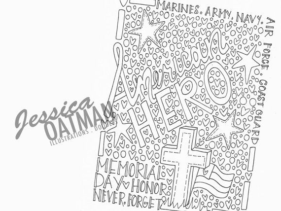 Set of 3 Memorial Day Coloring Page Coloring by JessicaOatmanArt