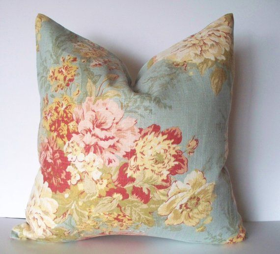 Blue Floral Pillow Cover Robin Egg Blue Pillow Shabby Chic Etsy Floral Pillows Floral Pillow Cover Blue Floral Pillows