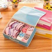 Wish | 8/10/15 Grid Bag Non-Woven Fabric Folding Case Storage Box For Bra Sock Underwear Organizer Cloth Storage