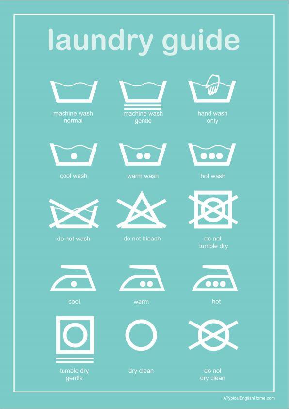 Imprime y enmarca esta guía de lavado para que así siempre sepas lo que los símbolos en tus etiquetas significan. | 29 Ideas increíblemente ingeniosas para organizar la lavandería