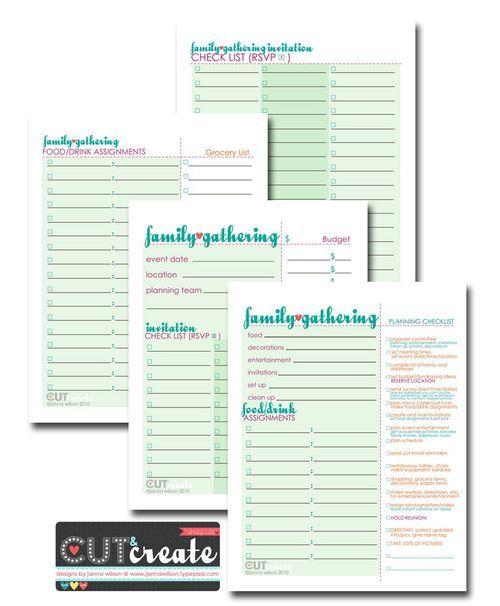 Family Reunion Planner (printable freebie)