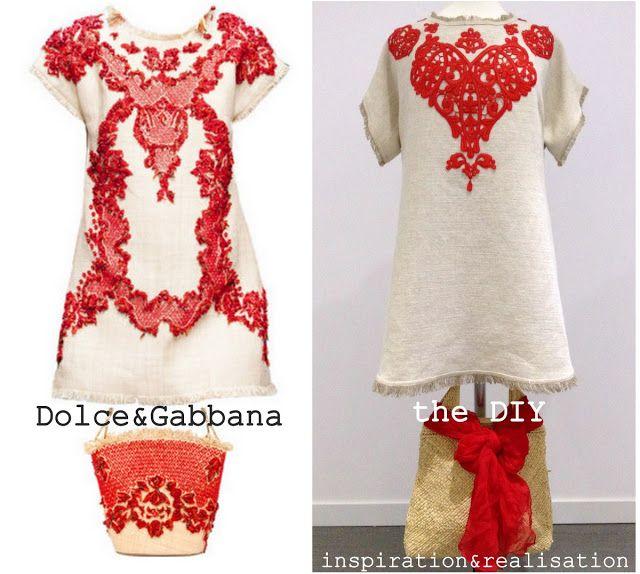 inspiration and realisation: DIY fashion blog: DIY Dolce & Gabbana rafia and coral dress