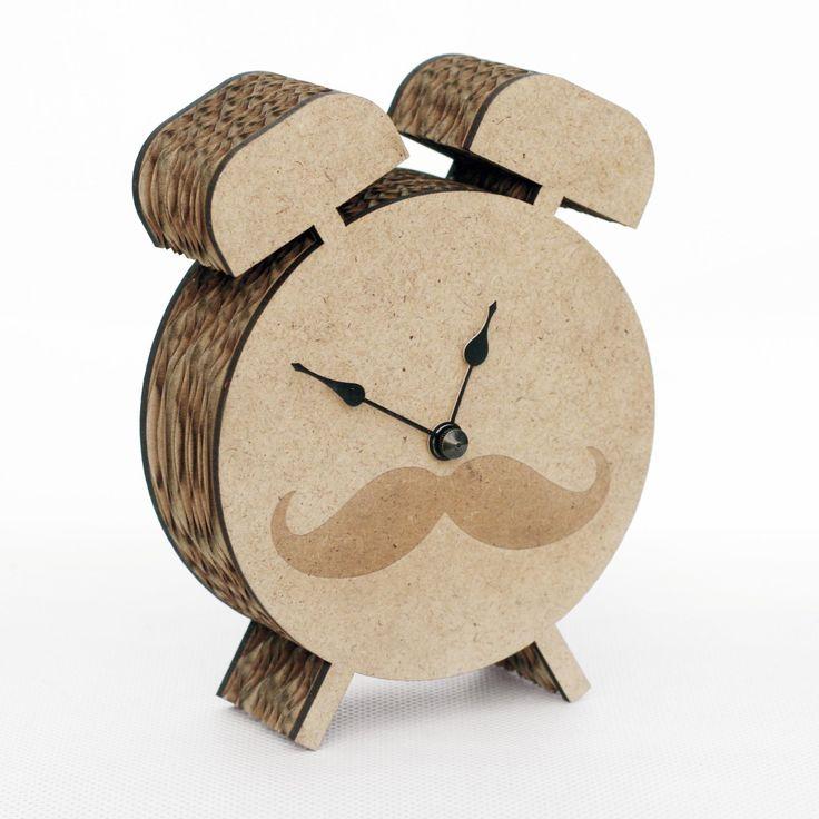 "Cardboard clock ""mini old clock"" MOVEMBER"
