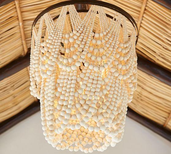 Pottery Barn Beaded Lamp Shade: Pottery Barn Amelia Wood Bead Chandelier