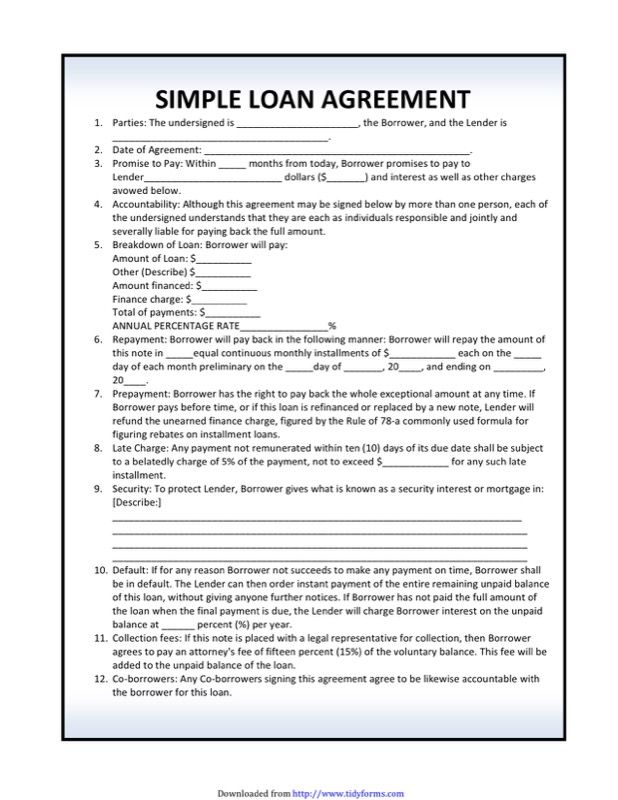 Simple Loan Agreement Template My Fashion World Sample Resume