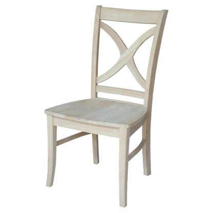 International Concepts Unfinished Vineyard Curved X-Back Dining Chairs - Set of 2 | Hayneedle