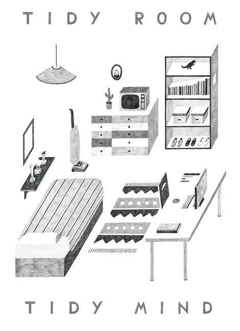 tidy room tidy mind // Illustration by Owen Gatley.