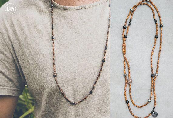 Wood  Onyx  Horn  Hematite necklace / hematite by IRONWOLFjewelry