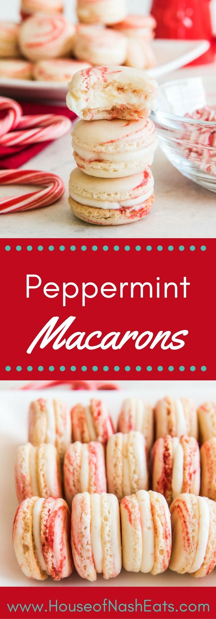 Peppermint Macarons are the sweetest, most melt-in-your-mouth delicious Christmas cookie with a wonderful vanilla peppermint buttercream filling. They fancy up a Christmas cookie platter or Christmas cookie exchange with one of the best flavors of the holiday season! #christmas #cookies #macarons #peppermint #ChristmasCookies [ad]