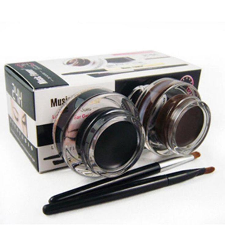 Mejor 2 en 1 Marrón + Negro Gel Eyeliner Maquillaje a prueba de agua Y prueba de Manchas Cosméticos Conjunto Kit de Eye Liner Delineador de Ojos maquillaje