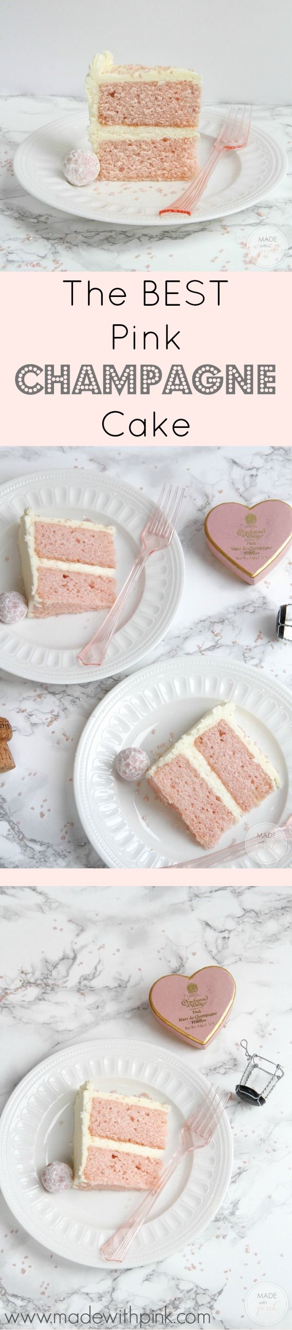 pink champagne cake with champagne buttercream