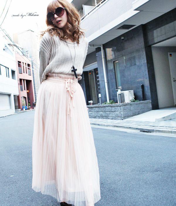 マキシ丈のチュールスカートもふんわり春らしい♡チュールプリーツスカートのコーデ♡スタイル・ファッションの参考に♪