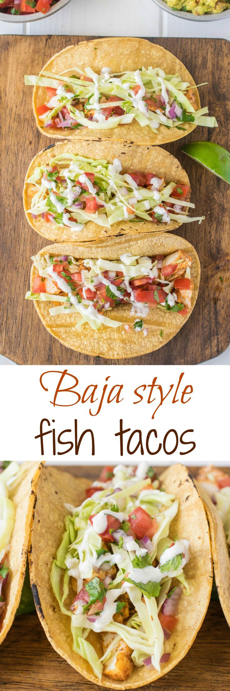 Baja style fish tacos. Mexican spiced halibut pieces are sautéed, then nestled in corn tortillas with fresh shredded cabbage and homemade pico de gallo with lime crema