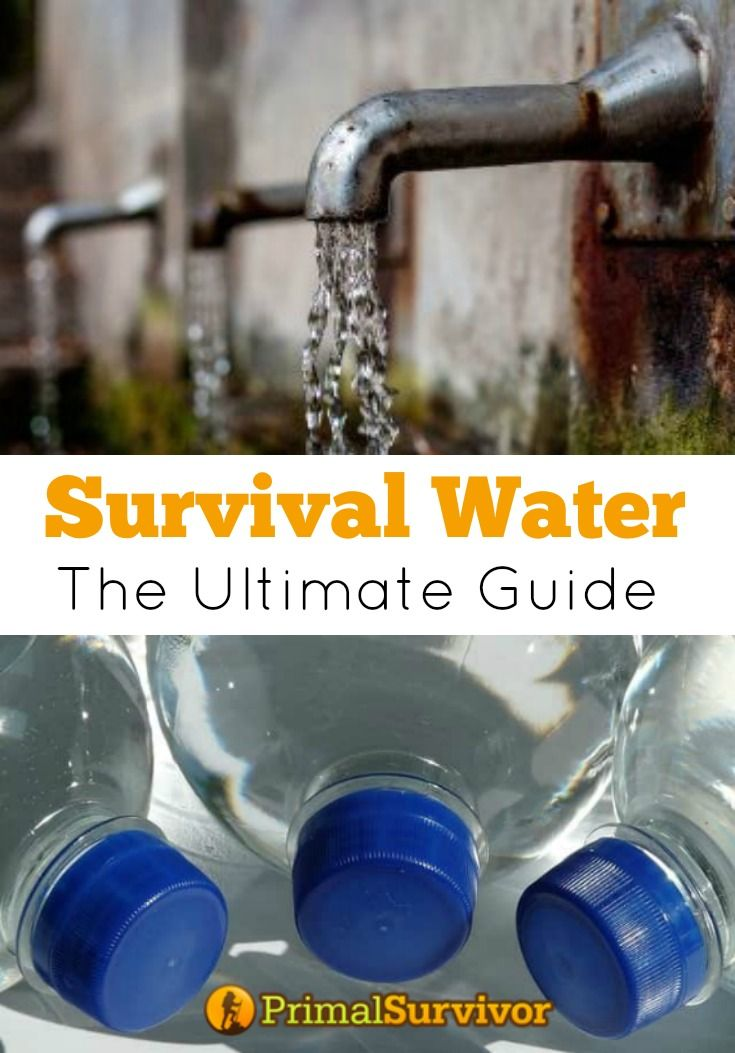 Survival Water: The Ultimate Guide to Storing, Treating, and Finding Water in Emergencies.There are a lot of things you can do to get prepared, like building a Bug Out Bag and stockpiling food. However, no emergency plan would be complete without survival water. This guide will tell you everything you need to know in order to store water, treat water, and find water in emergency situations.