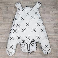 Большая подушка - Тигрица Катрин Игровой коврик-подушка в форме шкуры белого тигра, ручная работа, ручная роспись на ткани...