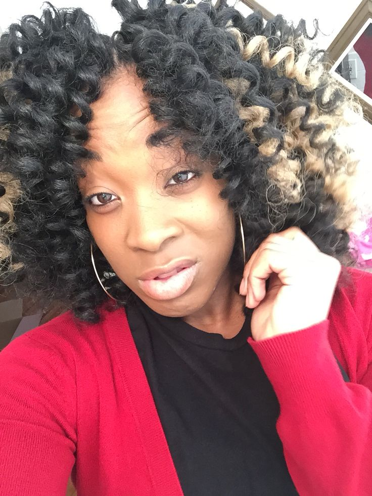 Crochet Hair Rodded : Crochet Braids w/ Marley Hair. Curled with perm rods.