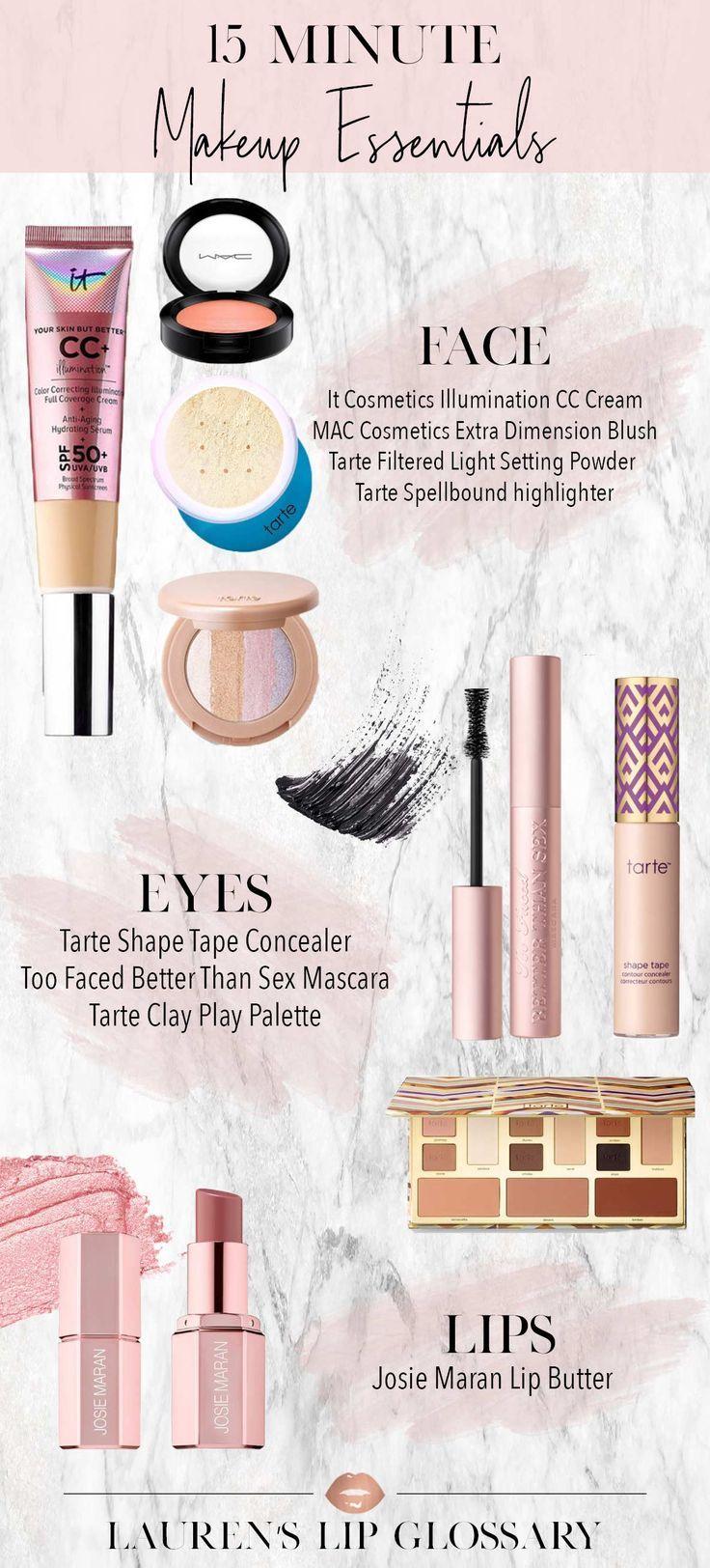 15 Minute Makeup Essentials Lauren S Lip Glossary Makeup Essentials Tarte Shape Tape Concealer Shape Tape Concealer