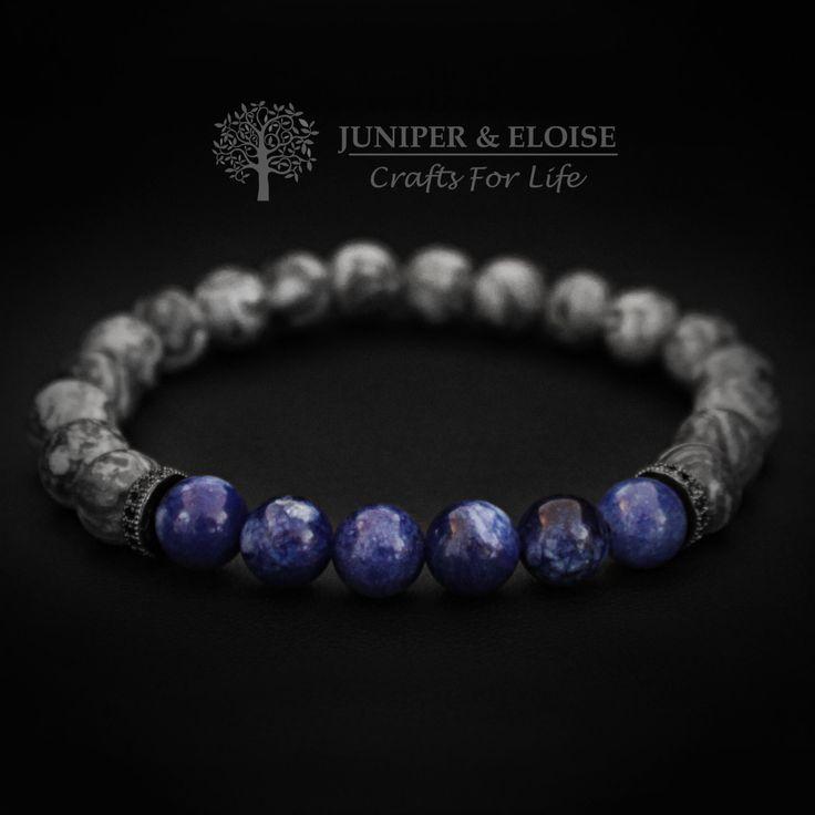 Mens Bracelet, Womens Jewelry,Unisex Bracelet, Gift Bracelet made with 8mm Gray Jasper and Blue Jade, Gift Ideas, Stretch Bracelet by JUNIPERANDELOISE on Etsy