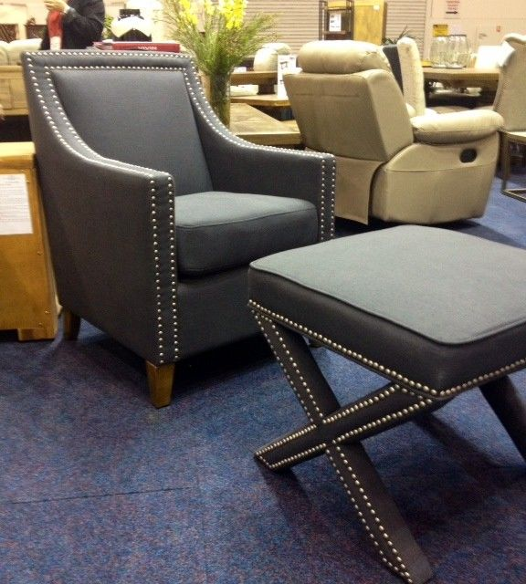 Charcoal Linen Studded Arm Chair